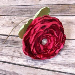*3 FOR $15* Oversized Rose Headband - Red